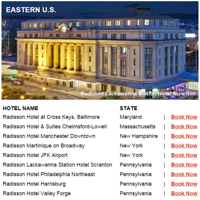 Club Carlson Mega Points 2015 Eastern US