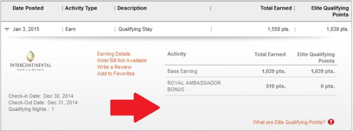 IHG Rewards Club Royal Ambassador InterContinental Points Earning Enhancement Past Jan 1 2015