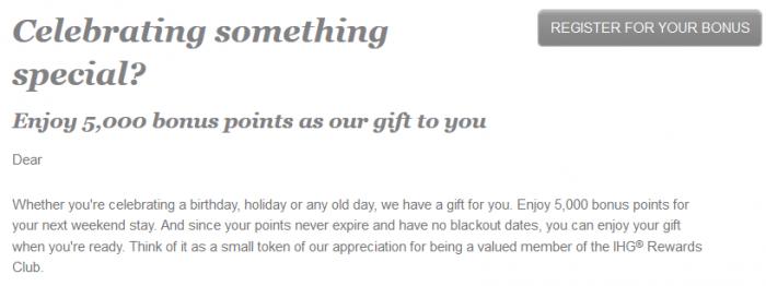 IHG Rewards Club Weekend Stay Bonus Body