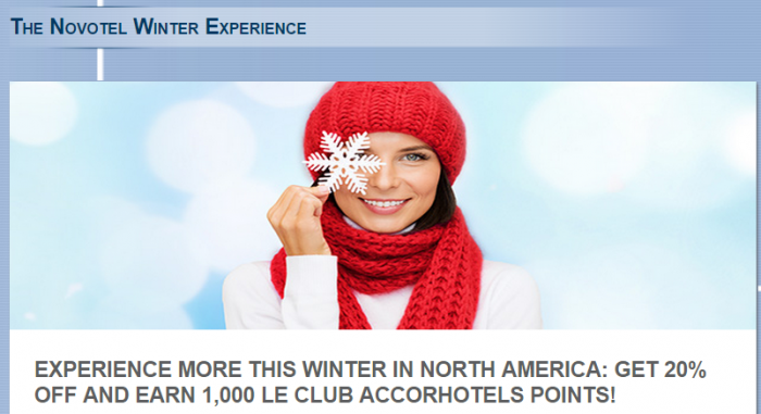 Le Club Accorhotels North America 1,000 Bonus Points January 1 - March 31 2015