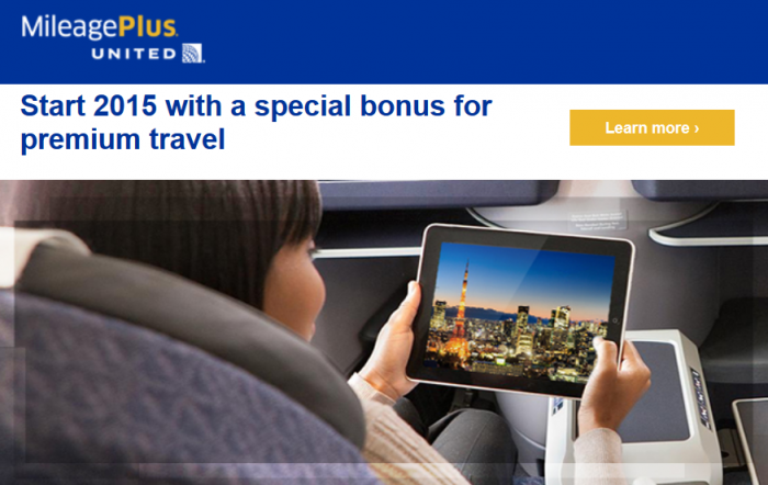 United Airlines MileagePlus Business & First Class Bonus January 9 - February 28 2015