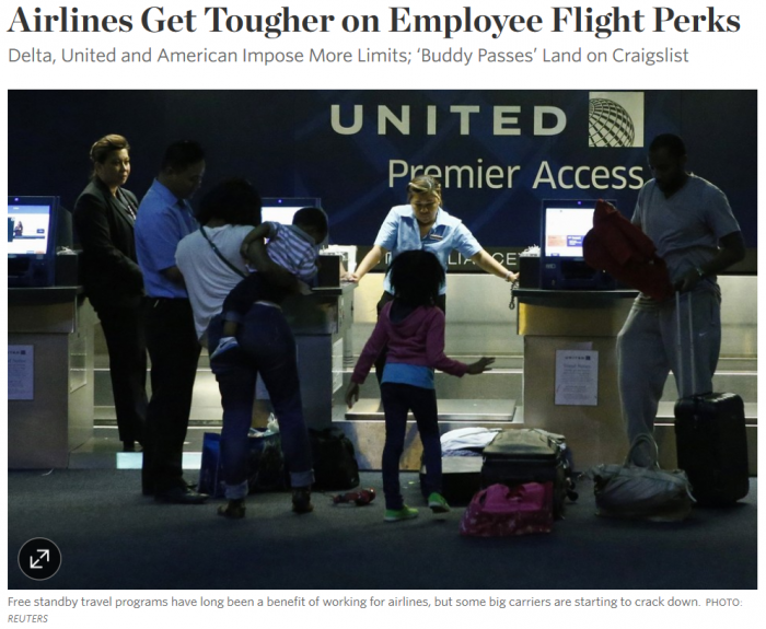 WSJ Airlines Get Tougher on Employee Flight Perks