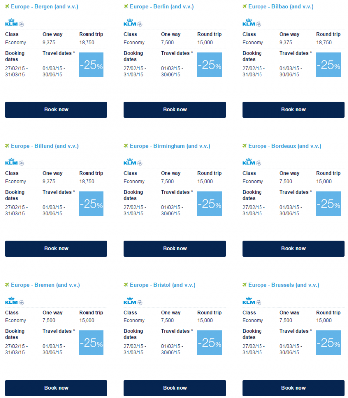 Air France-KLM Flying Blue Promo Awards March 2015 Europe Specials 4