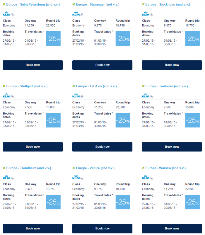 Air France-KLM Flying Blue Promo Awards March 2015 Europe Specials 9