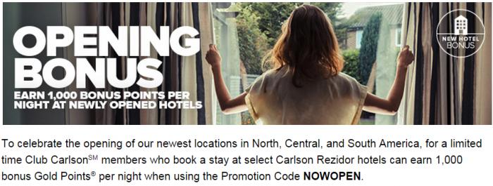 CLub Carlson 1,000 Bonus Points Per Night New Hotels Americas