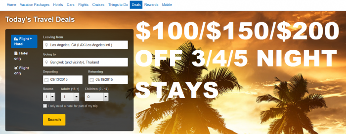 Expedia $100/$150/$200 Off 3/4/5 Night Stay Book By March 15