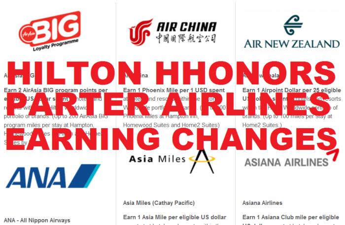 Hilton HHonors Airline Partner Earning Changes