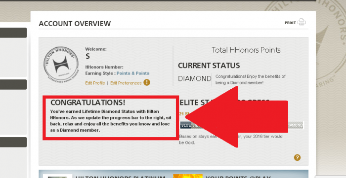 Hilton HHonors Lifetime Diamond Online Account