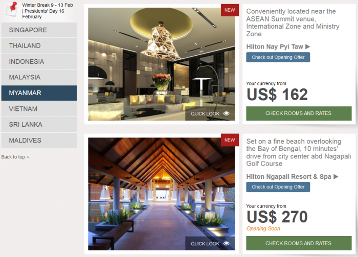 Hilton Southeast Asia Weekend Sale Myanmar