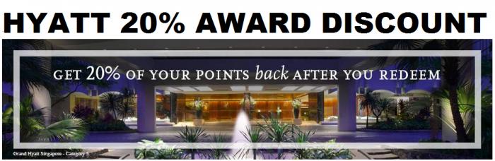 Hyatt Gold Passport 20 Percent Award Discount Credit Card Holders Only