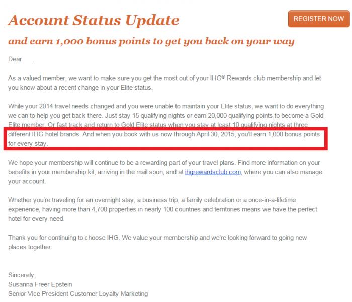 IHG Rewards Club 1,000 Bonus Points Per Stay 2015 Email Body