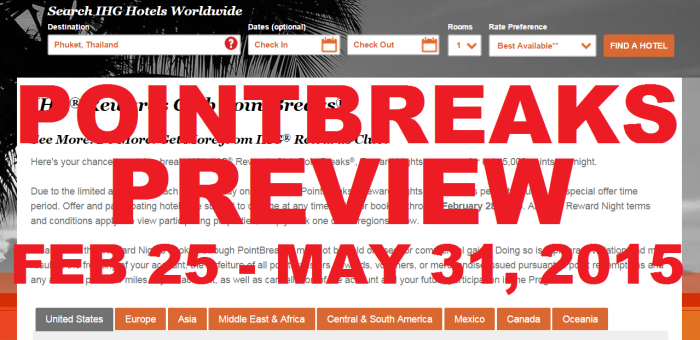 IHG Rewards PointBreaks Preview February 25 - May 31 2015