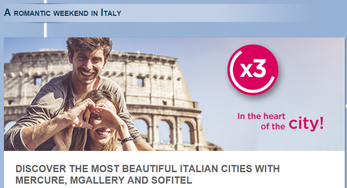 Le Club Accorhotels Italy Triple Points Offer February 12 - May 3 2015