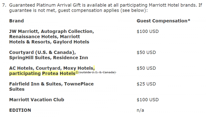 Marriott Rewards TCs Change Platinum Arrival Gift Compensation