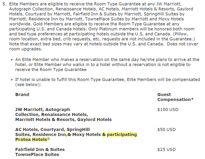Marriott Rewards TCs Change Room Type Guarantee