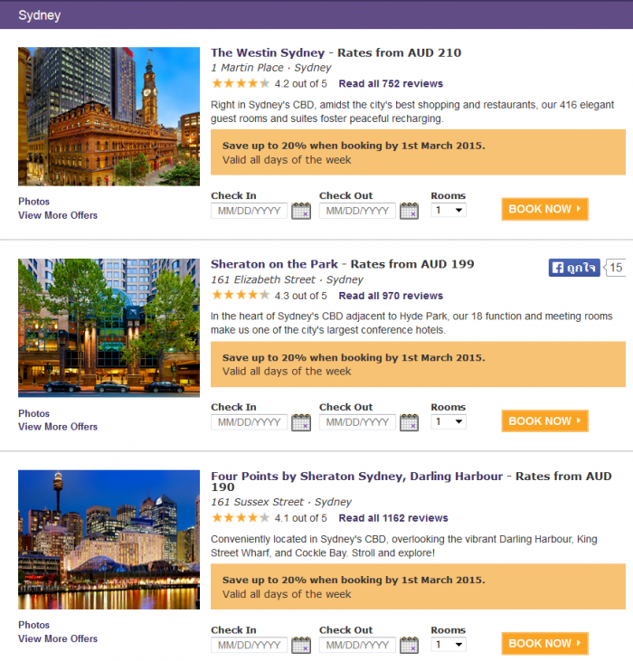 Starwood Australia & Pacific Up To 50 Percent Off Limited TIme Sale February 2015 Sydney