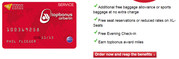 Airberlin Topbonus Service Card Benefits