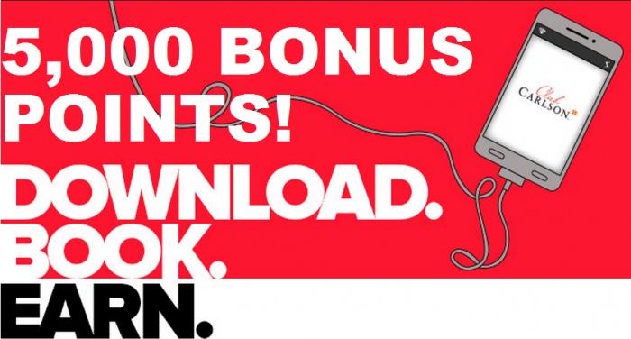 Club Carlson 5,000 Bonus Points App Booking Bonus March 30 April 30 2015
