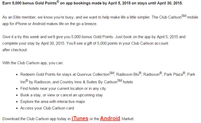 Club Carlson 5,000 Bonus Points App Booking Bonus March 30 April 30 2015 Email Body