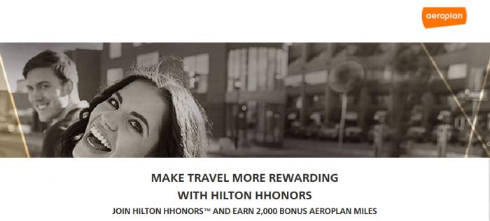 Hilton HHonors Air Canada Aeroplan 2,000 Bonus Miles Double Miles March 1 May 31 2015