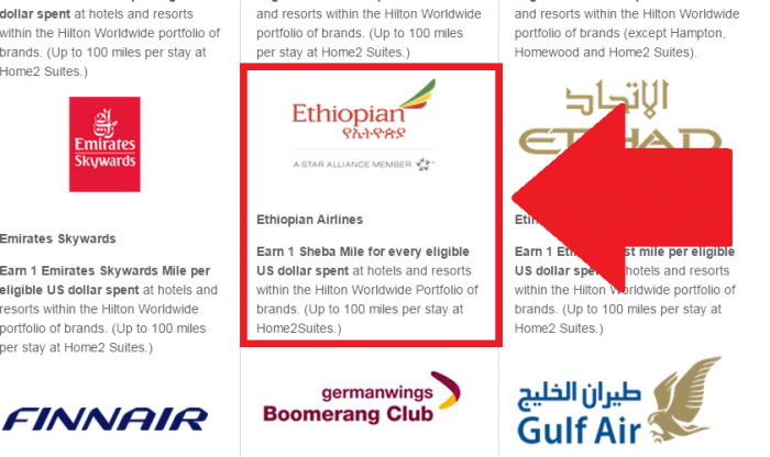 Hilton HHonors Ethiopian Airlines Double Dip Partnership Text