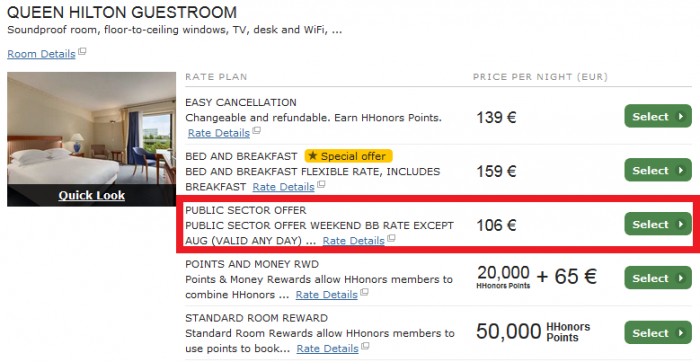 Hilton HHonors Public Sector Offer UK Ireland Europe 2015 PR11PN Hilton Amsterdam Airport Schiphol
