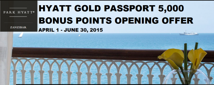 Hyatt Gold Passport Park Hyatt Zanzibar Opening Bonus Offer April 1 June 30 2015