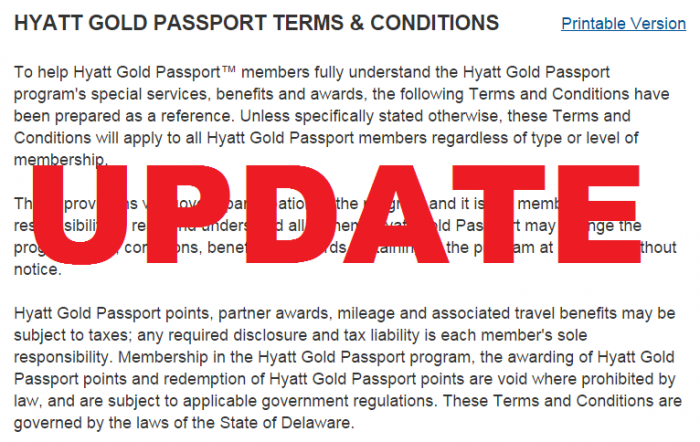 Hyatt Gold Passport Terms and Conditions Update