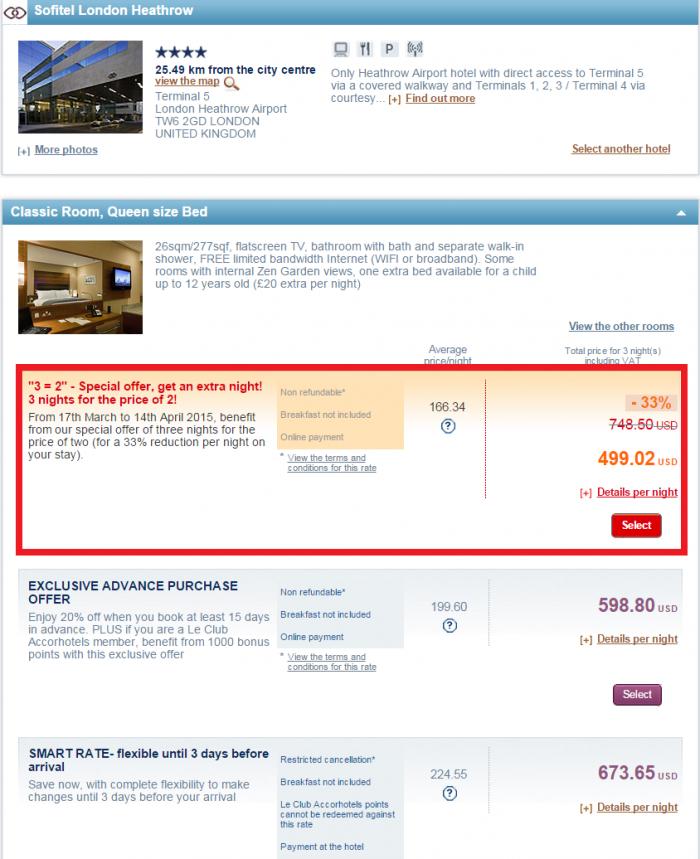 Le Club Accorhotels 3=2 Sale March 2015 Sofitel London Heathrow