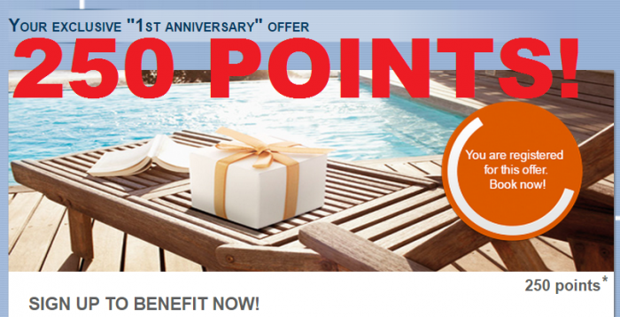 Le Club Accorhotels First Anniversary 250 Bonus Points Offer 2015