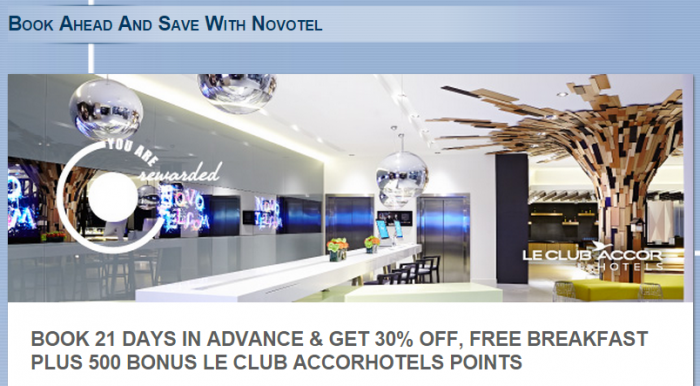 Le Club Accorhotels Novotel UK Offer 500 Bonus Points March 21 September 6 2015