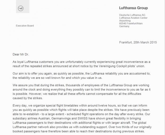 Lufthansa Non-stop Strikes Email 1