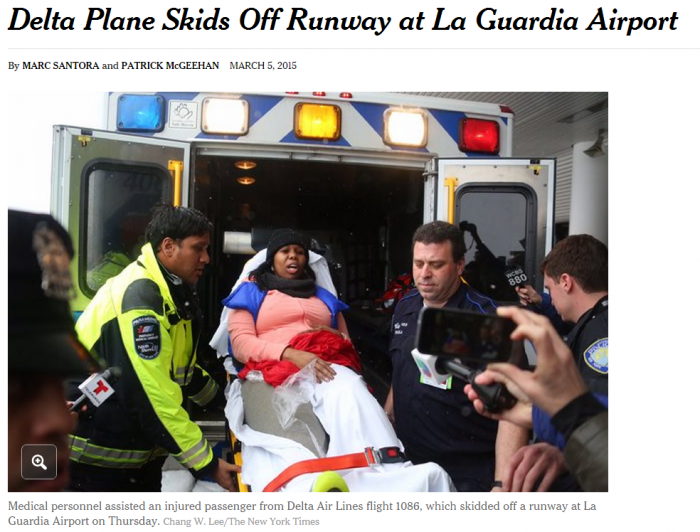 NY Times Delta Plane Skids Off Runway at La Guardia Airport