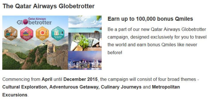 Qatar Airways Globetrotter Promotion For Up To 100,000 Bonus Miles April - December 2015