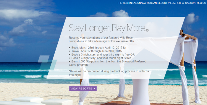 Starwood Preferred Guest SPG Stay Longer Play More