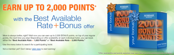 Wyndham Rewards Best Available Rate With 1000 Or 2000 Bonus Points