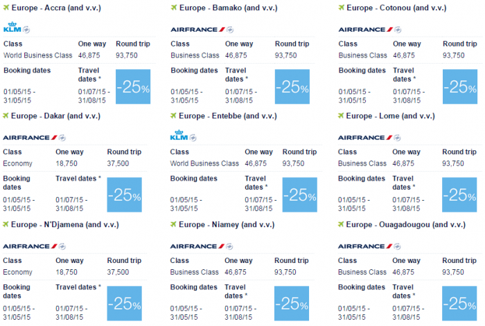 Air France-KLM Flying Blue Promo Awards May 2015 Africa 1