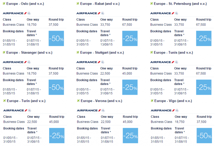 Air France-KLM Flying Blue Promo Awards May 2015 Europe Business Specials 4