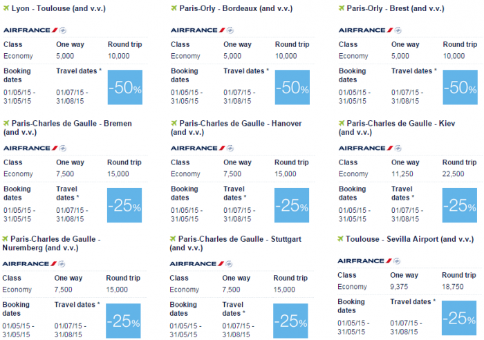 Air France-KLM Flying Blue Promo Awards May 2015 Europe Specials 1