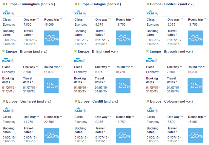 Air France-KLM Flying Blue Promo Awards May 2015 Europe Specials 3