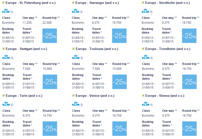 Air France-KLM Flying Blue Promo Awards May 2015 Europe Specials 7
