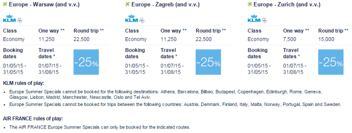 Air France-KLM Flying Blue Promo Awards May 2015 Europe Specials 8
