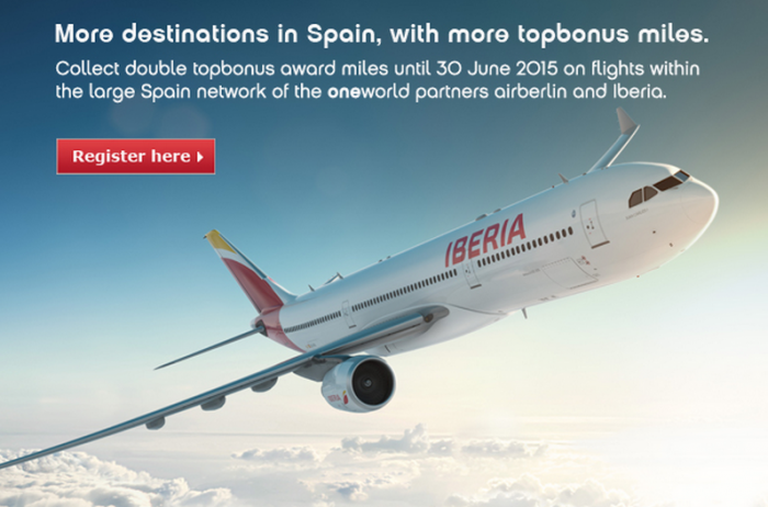 Airberlin Double Miles Offer Germany Spain Iberia May 1 June 30 2015