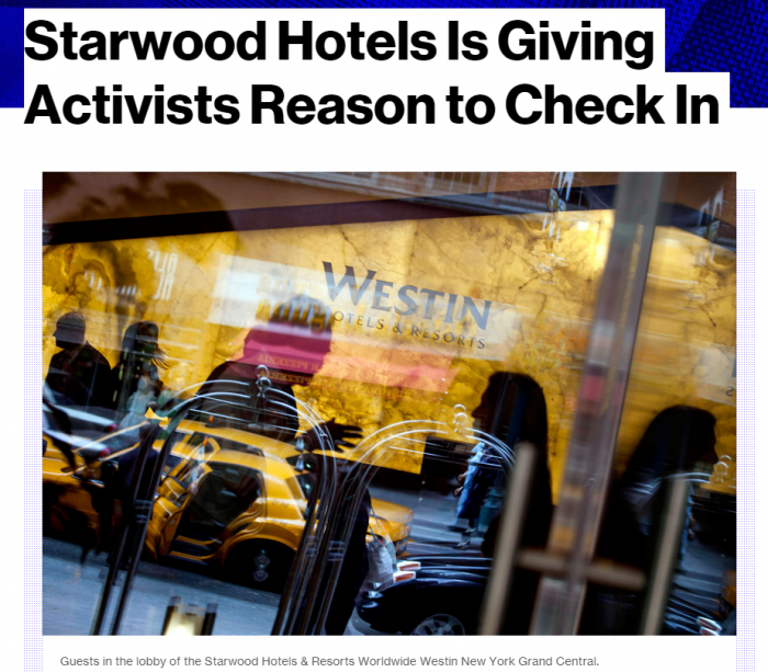 Bloomberg Starwood Hotels Is Giving Activists Reason to Check In