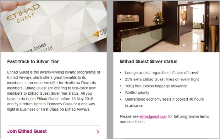 Etihad Airways Etihad Guest Silver Fast Track Heathrow Rewards Benefits