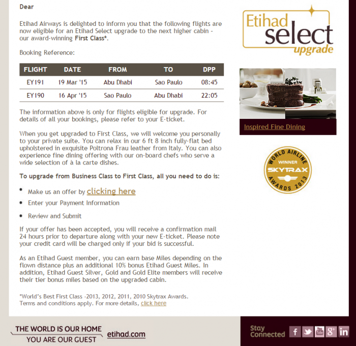 Etihad Airways PlusGrade Upgrade To First Class AUH-GRU Email Make An Offer