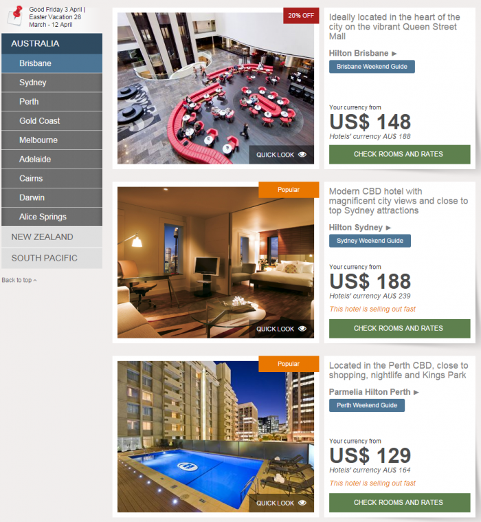 Hilton Asia Pacific Websites Australia