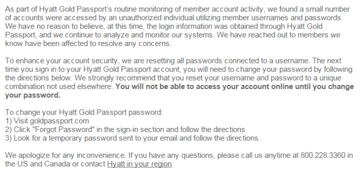 Hyatt Gold Passport Hacked Text