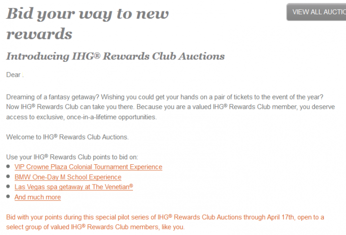IHG Rewards Club Actions Email