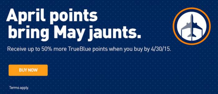 JetBlue TrueBlue Buy Points April 2015